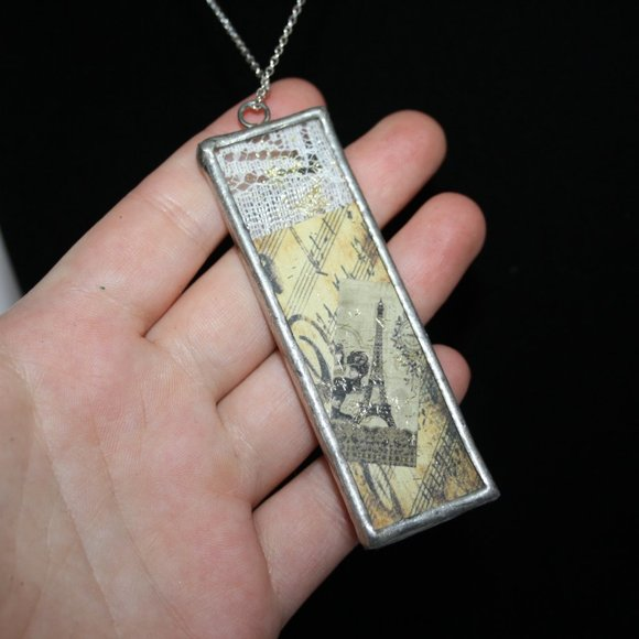 Stunning glass panel necklace pendant silver